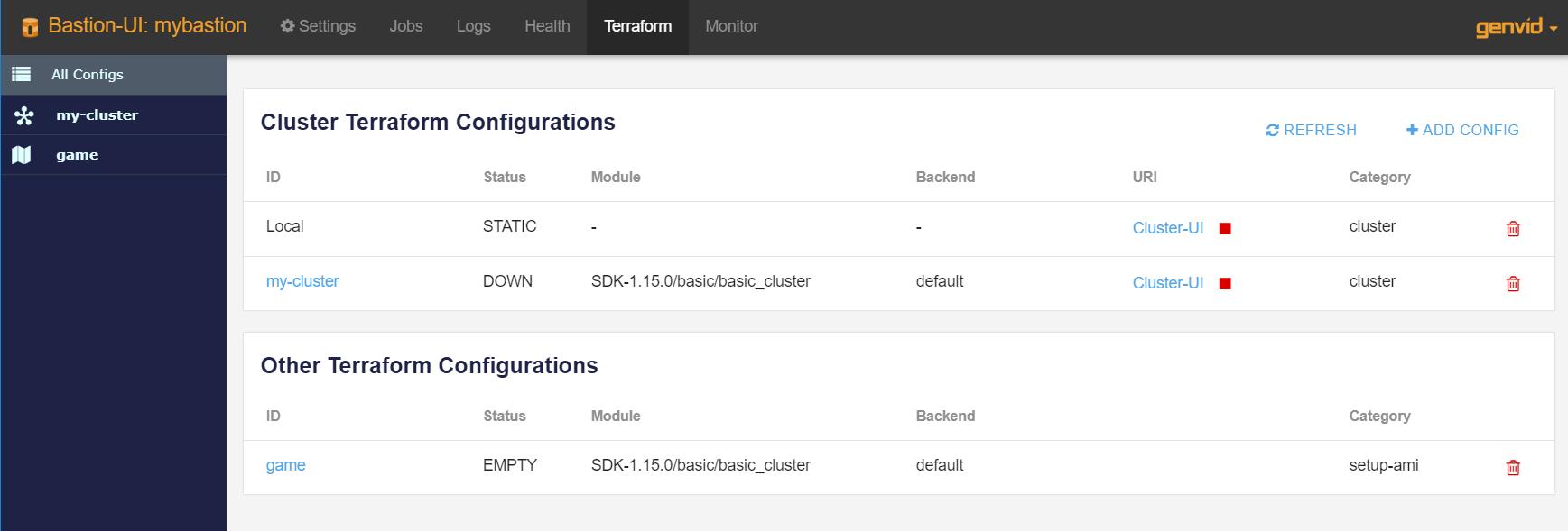 Bastion UI — Genvid Documentation 1 16 0 documentation